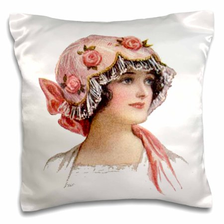 - 3dRose Victorian Lady With Rose Lace Bonnet, Pillow Case, 16 by 16-inch