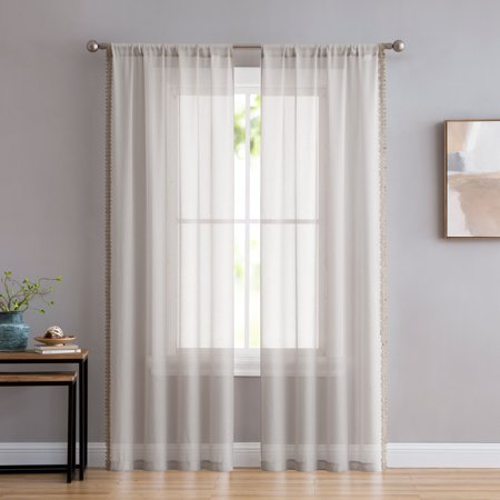 Better Homes and Gardens Jute Trim Edge Window Curtain Panel - Set of 2