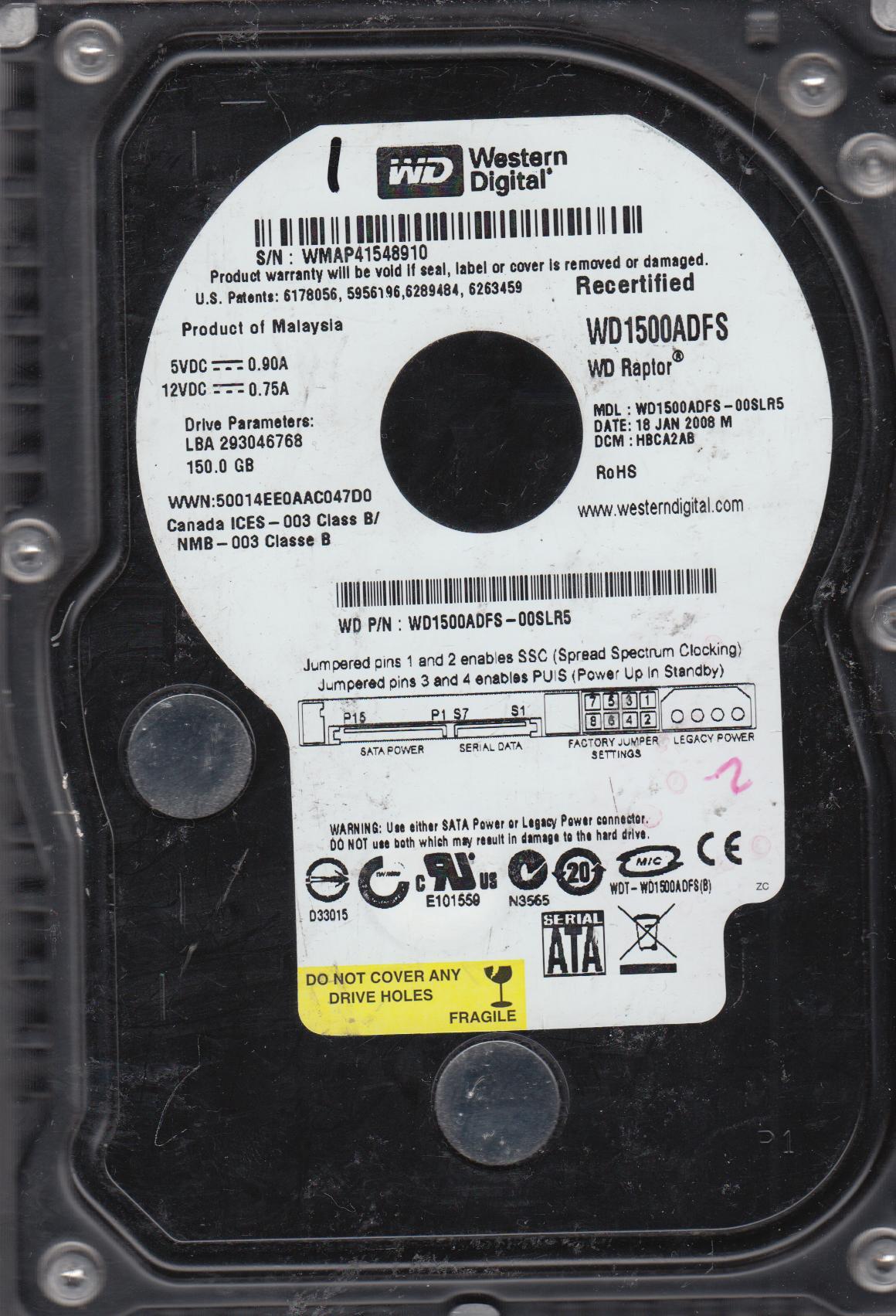 WD1500ADFS-00SLR5, DCM HBCA2AB, Western Digital 150GB SATA 3.5 Hard Drive by Western Digital