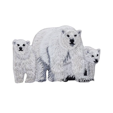 Polar Bear Patch - Polar Bear Family - Iron On Embroidered Applique Patch