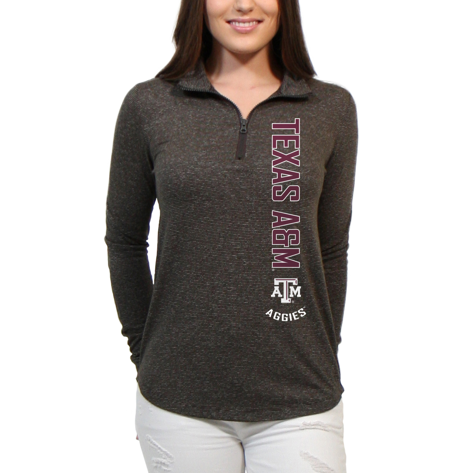 Texas A&M Aggies Cascade Text Women's/Juniors Team Long Sleeve Half Zip Shirt