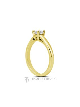 0.37ct J-VS1 Ideal Round Genuine Diamond 18k Gold Cathedral Solitaire Ring 2.3mm