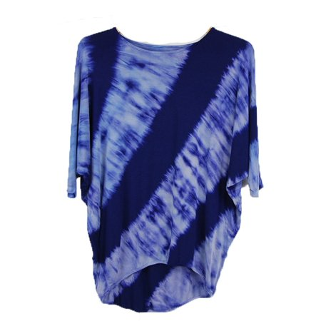 Luna West Womens Navy Dye Print Dolman Sleeve Cocoon Tunic Top S-L