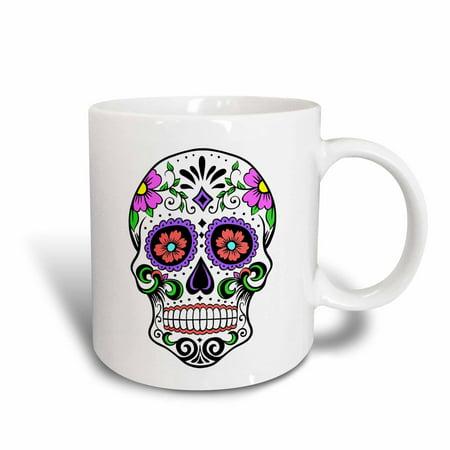 3dRose Sugar skull, Pink, Ceramic Mug, 15-ounce](Ceramic Skulls)