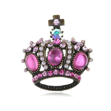 Pink Crystal Rhinestone Gem ChicRoyal King Crown Jewelry Pin Brooch