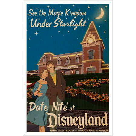 Date Night At Disneyland Vintage Poster 24X36 Magic Kingdom By Starlight - Halloween Tickets At Disneyland