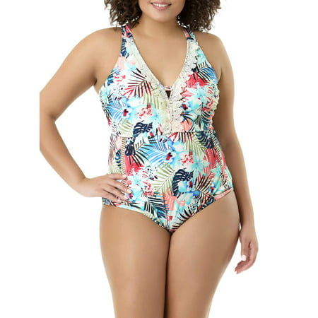 83d5867775b Time and Tru - Women's Plus-Size Vintage Tropics Lace V-Neck One-Piece  Swimsuit - Walmart.com