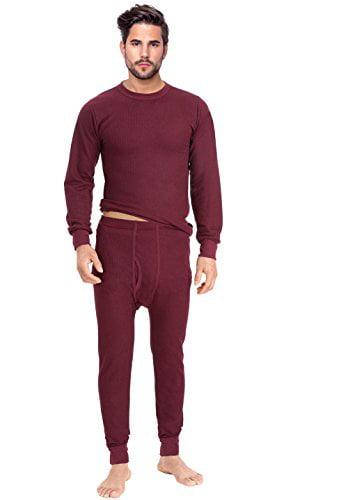 ® Men's Thermal 2pc Set Long John Underwear (Small, Burgundy)