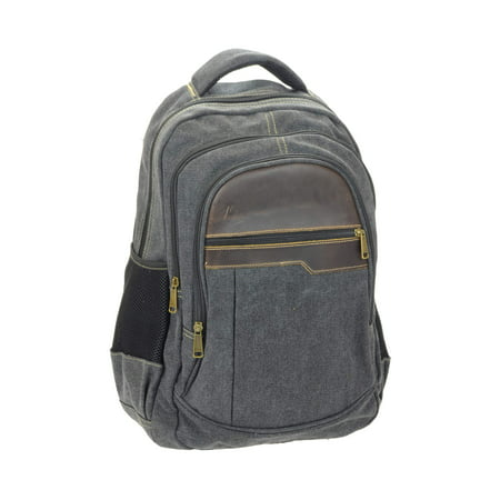 Montauk Leather Club Heavy Duty Washed Canvas and Vintage Leather Accent Backpack with 17 inch compatable Padded Laptop Sleeve Club America Backpack