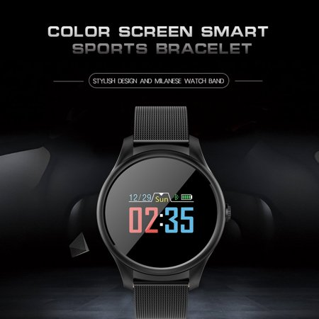 Smart Watch Big Round Dial Stainless Steel Band Heart Rate Blood Pressure Monitor Smart Wristwatch Health Tracker Watch - image 4 of 8