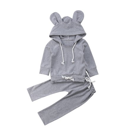 d89e1c4d15fc Emmababy - Grey 2PCS Newborn Kids Baby Boy Girl Clothes Hoodies Top ...