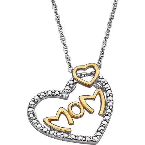 """Diamond Accent 14kt Gold over Sterling Silver Two-Tone Mom Heart Pendant, 20"""""""