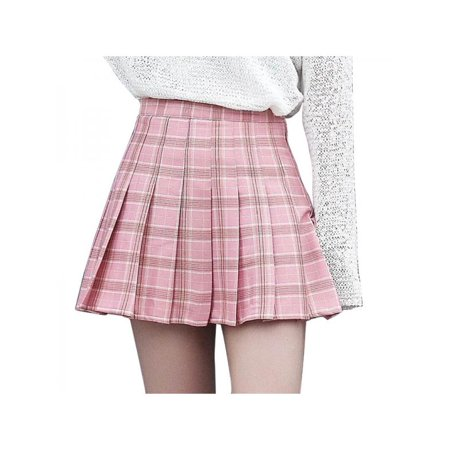 Lavaport Girls Plaid Pleated Skirt Dancewear Women High Waist Tartan Mini Skirt