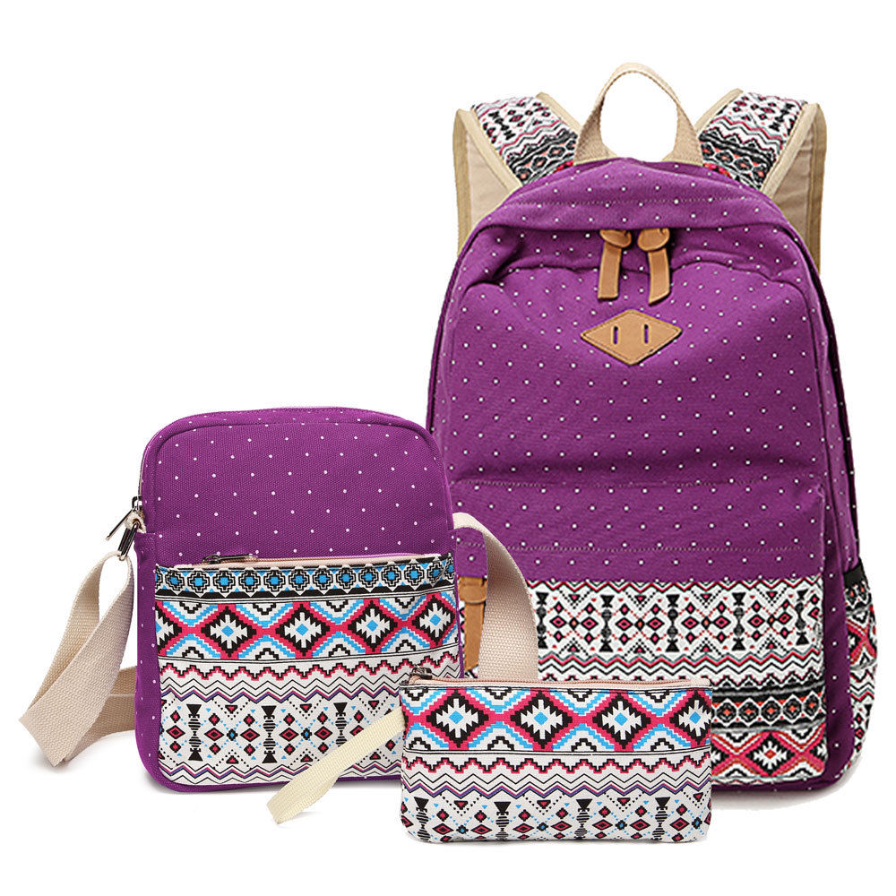 Purple Color 3Pcs/set Lady Girl Casual Canvas Backpack School ...