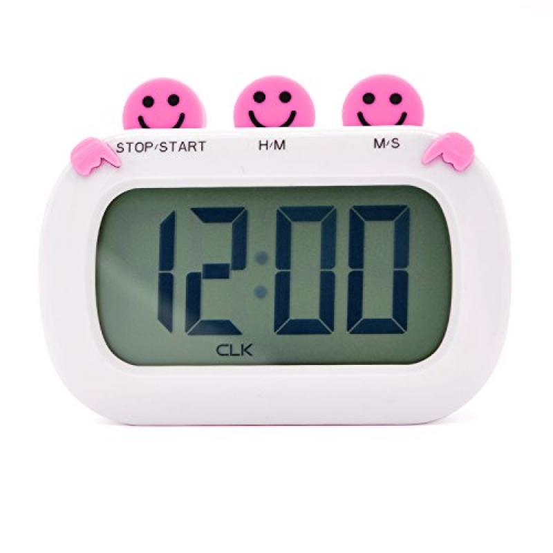 Hitechway Cute Digital Count-Down Up Kitchen Timer, Handy and Practical Kitchen Cooking Magnetic Timer Loud Alarm Magnetic for Sticking on the Refrigerator (Pink)