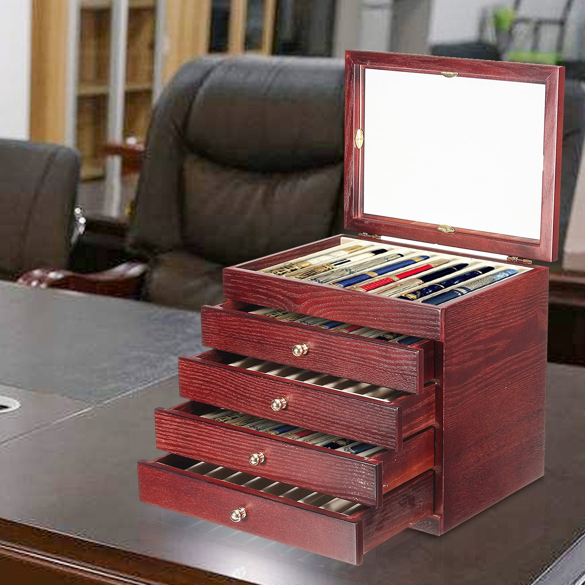 5 Layers 50 Pens Large Capacity Retro Wooden Pen Pencil Storage Case  Display Holder Wood Box