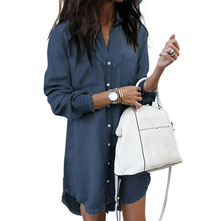 Plus Size Stylish Long Sleeve Loose Denim Mini Shirt Dress For Women Ladies Lapel V Neck Short Jeans Dress Winter Autumn Style Lapel Button Down Long Denim Shirt Tops
