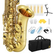 Eastar Professional Alto Saxophone E Flat Alto Saxophone Eb Saxophone Gold With Cleaning Cloth, Carrying Case, Mouthpiece, Neck Strap, Cork Grease, Reeds and Stand, Alto Saxophone Full Kit, AS-Ⅲ