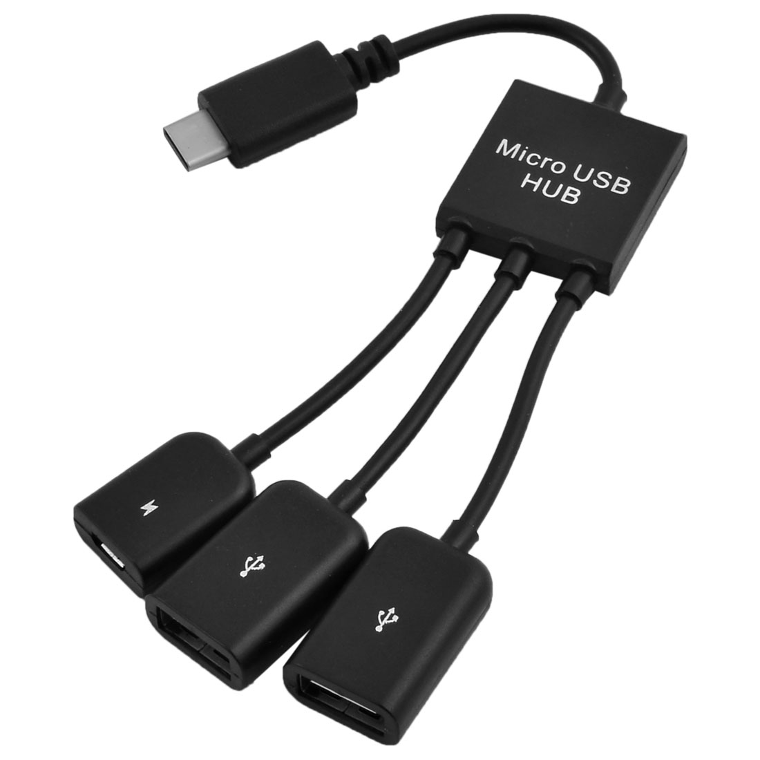 3 in 1 Micro USB OTG Hub Host Extension Charging Cable Adapter Black
