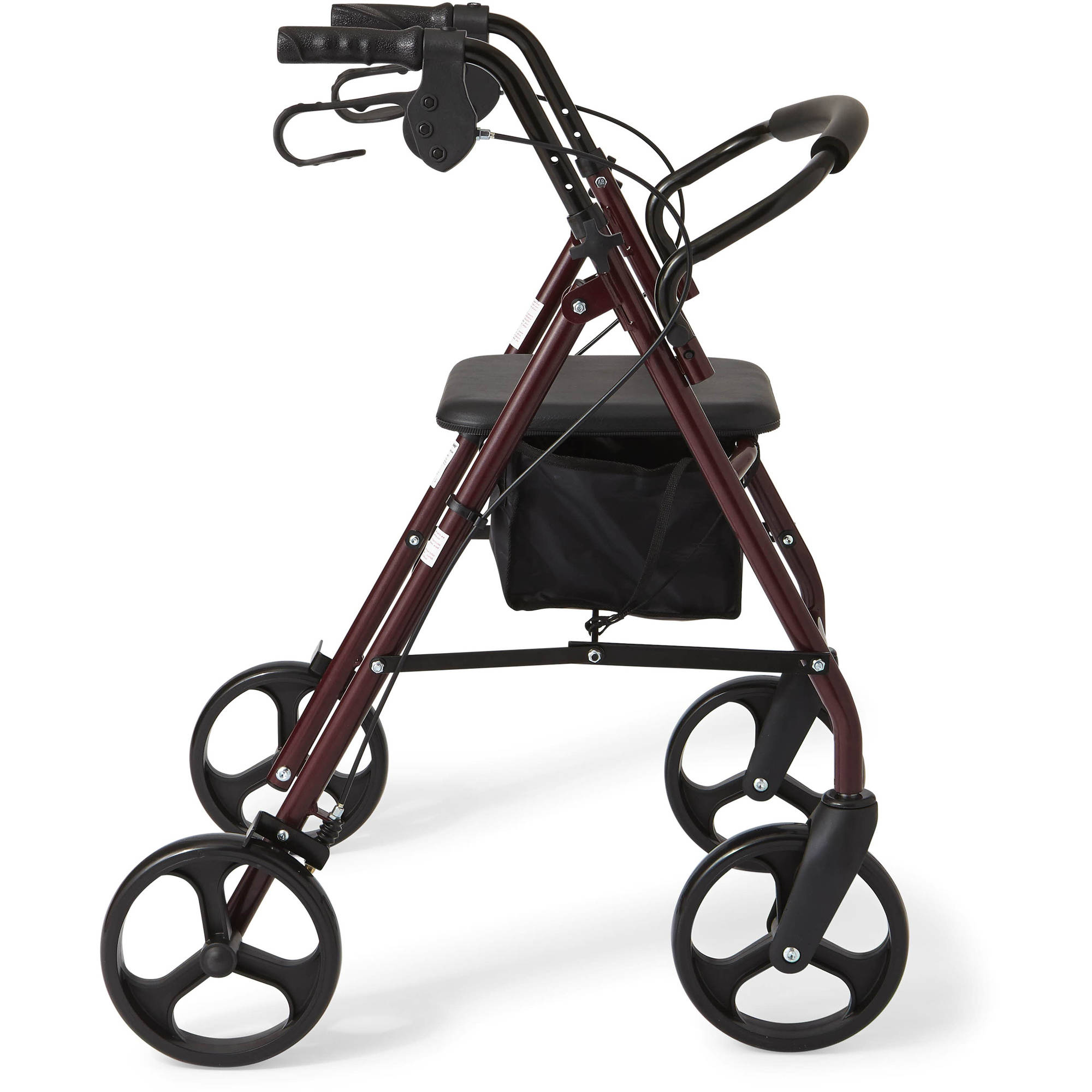 "Medline Steel Foldable Rollator Walker with 8"" Wheels, Red"