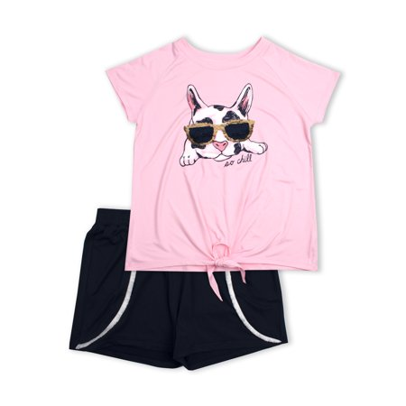 Reversible Flip Sequin Tie Front Tee and Pom Trim Short, 2-Piece Outfit Set (Little Girls & Big Girls)](Outfits From Different Decades)