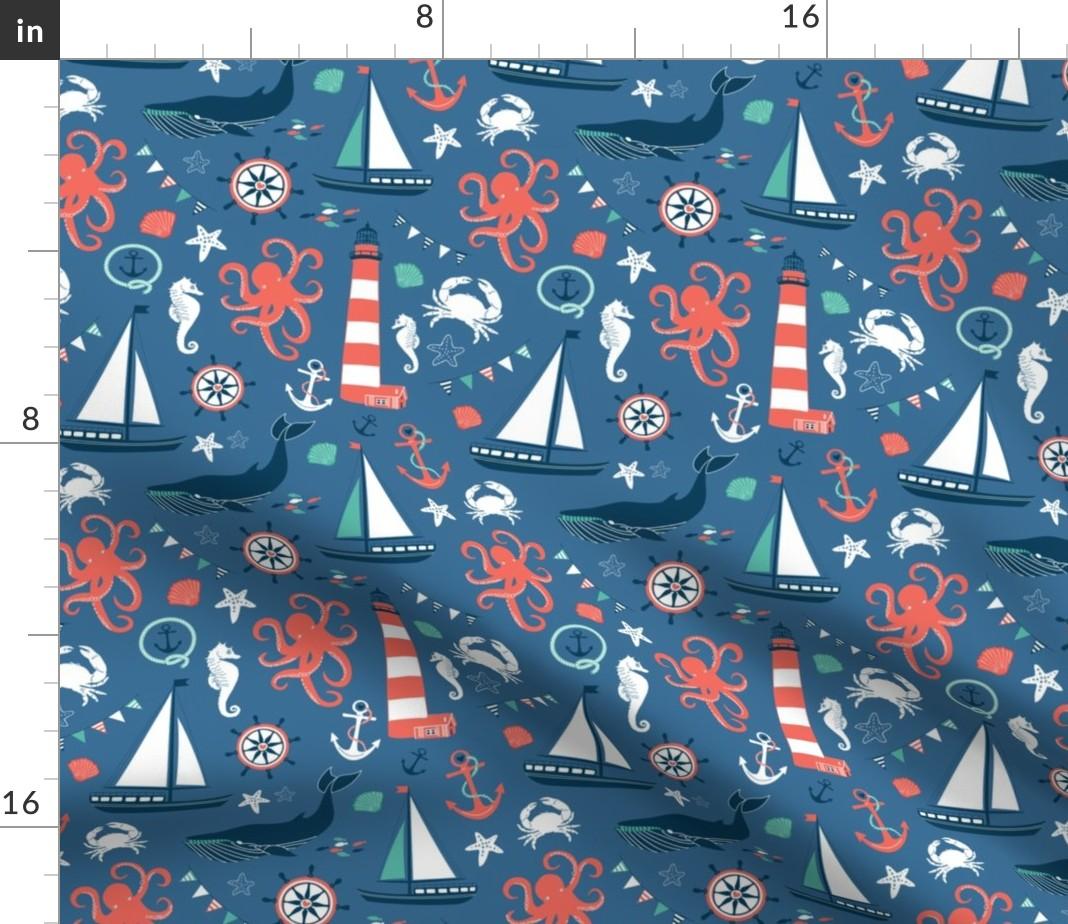 Orange Octopus Nautical Animal Octopus Vintage Fabric Printed by Spoonflower BTY