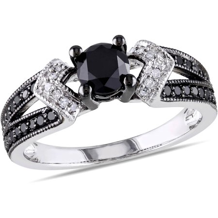 1 Carat T.W. Black and White Diamond Sterling Silver Split Shank Engagement