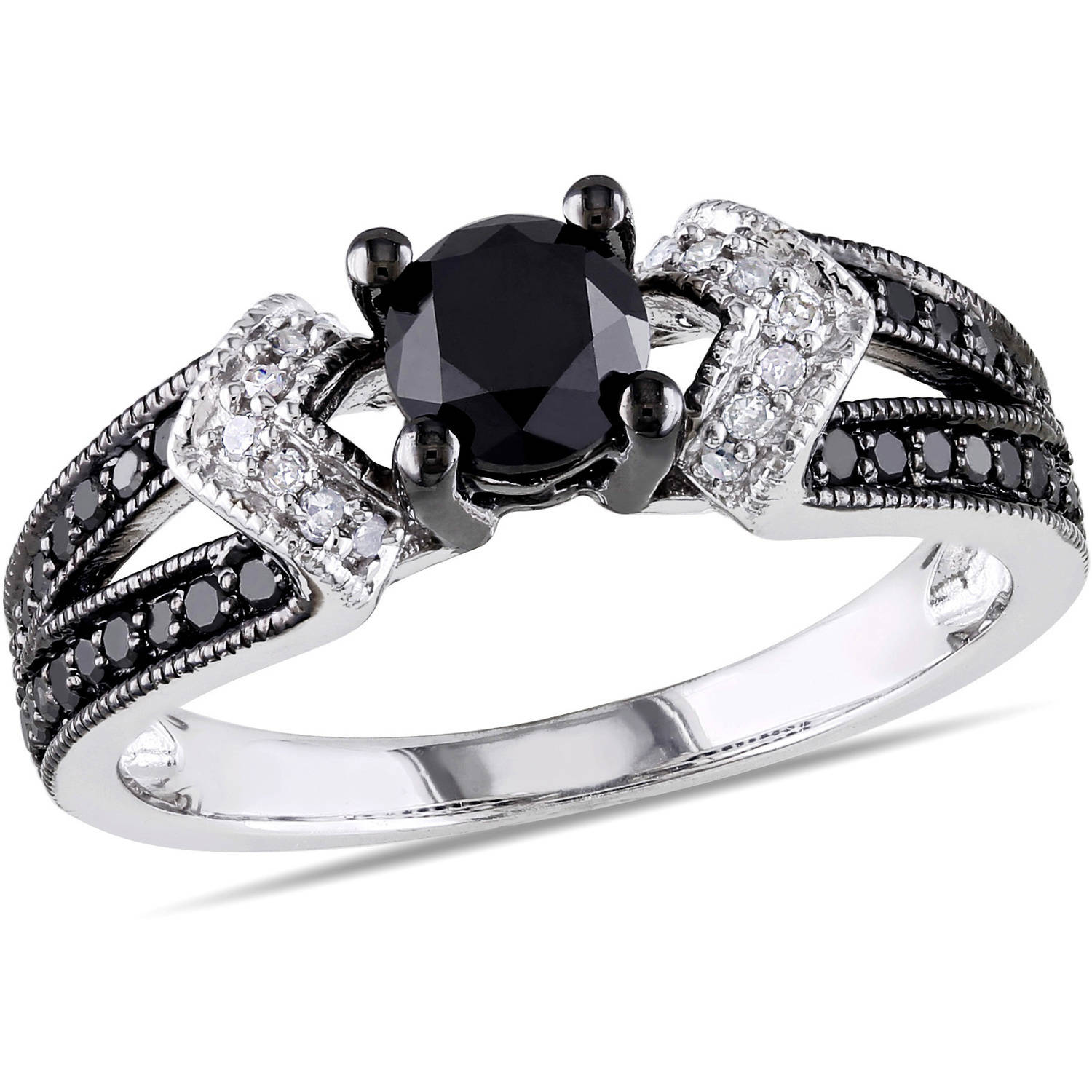 1 Carat T.W. Black and White Diamond Sterling Silver Split Shank Engagement Ring
