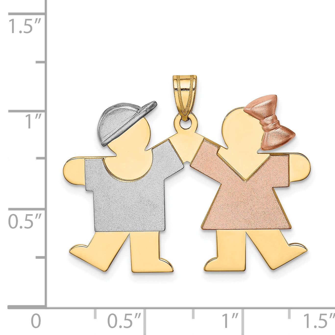 14K Tri Color Gold Tri-Color Large Boy on Left & Girl on Right Engravable Charm - image 1 de 2