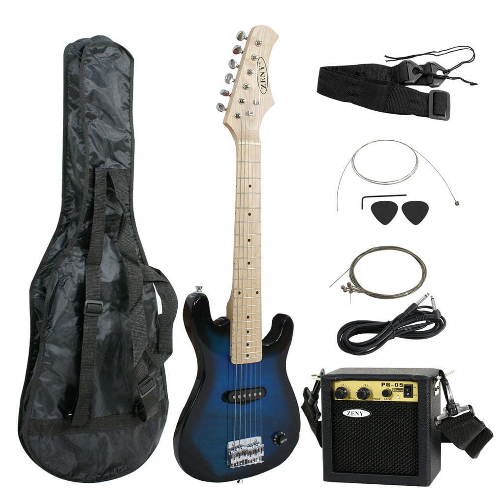 "Zeny 30"" Blue Electric Guitar + 5 Watt Amp + Gig Bag Case + Guitar Strap Beginners"