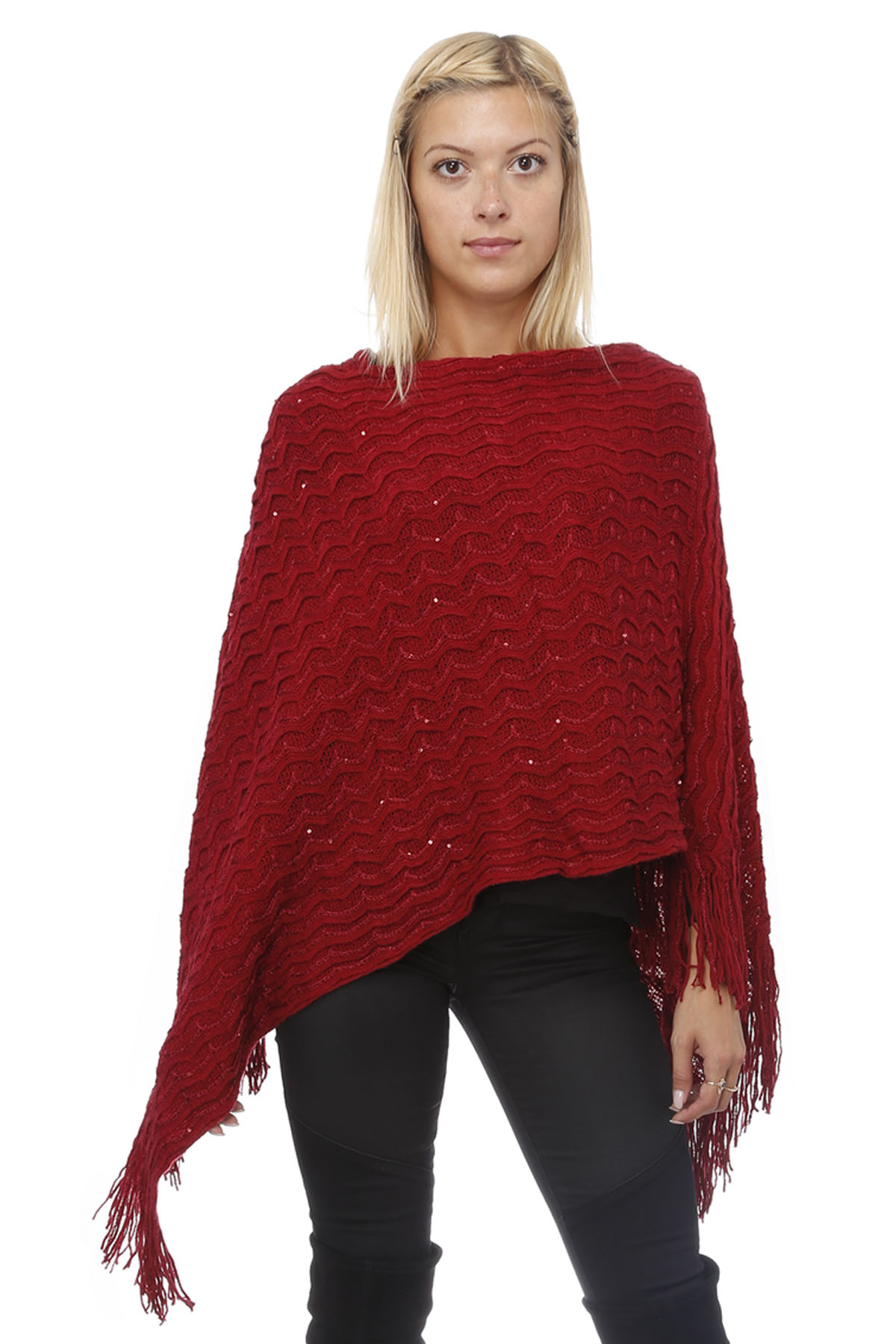 Highness Sequin Fringed Sweater Poncho by