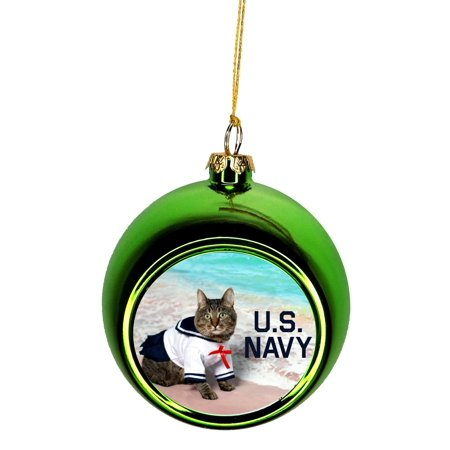 Navy Christmas Ornaments.Ornament Nautical U S Navy With Cat Ornaments Green Bauble Christmas Ornament Balls