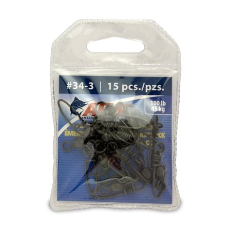 American Fishing Wire Coastlock Snap/Swivels 100Lb Bk 15P - 12134