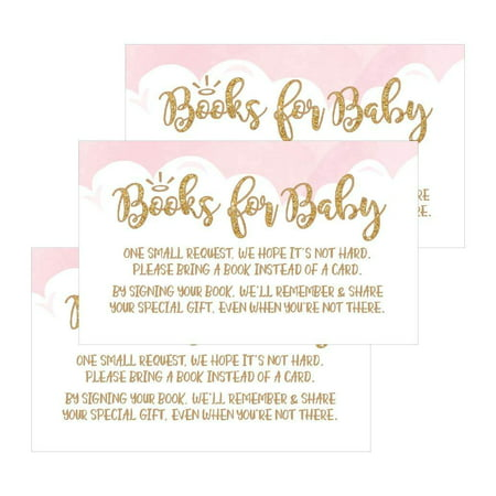 25 Books For Baby Request Insert Card For Pink Girl Heaven Sent Baby Shower Invitations or invites, Cute Bring A Book Instead of A Card Theme For Gender Reveal Party Story Games, Business Card Sized - Cheap Baby Shower Themes