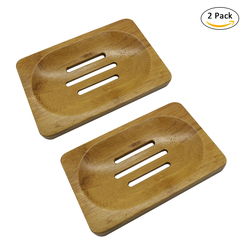 2pcs Wooden Soap Dish Soap Saver Holder Soap Tray