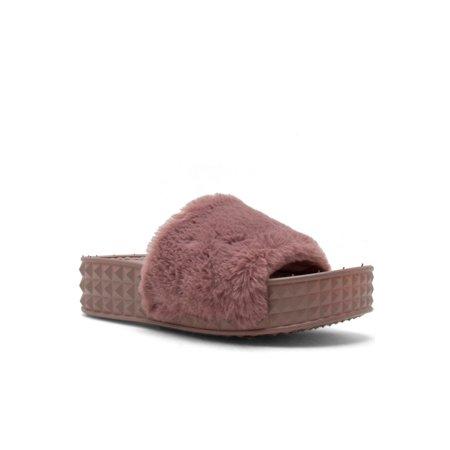 166a0c52b Genx - Womens Soft Thick Platform Slide Sandals Slippers Shoes FUZZY-01-9-Mauve  - Walmart.com