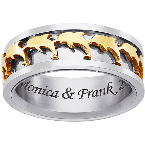 Personalized Men's Stainless Steel Two-Tone Dolphin Spinner Ring