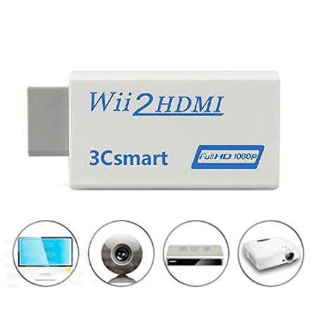 wii to hdmi converter output video audio adapter, 3csmart 720p / 1080p hd audio video output supports all wii display modes, best compatibility and