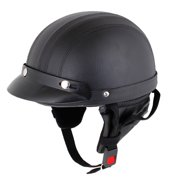 Adjustable Nylon Strap Faux Leather Motorcycle Skull Cap Half Helmet w Scoop Visor Black