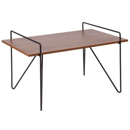 Flash Furniture Porter Collection Cherry Wood Grain Finish Coffee Table With Black Metal Legs