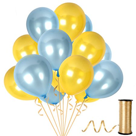 100pcs Gold Assorted Latex Balloons + 65 Yards Crimped Curling Ribbon Pieces Set   Top Quality, Thick Party Decorations For Birthdays, Anniversaries & Weddings by Treasures Gifted (GOLD/BLUE)