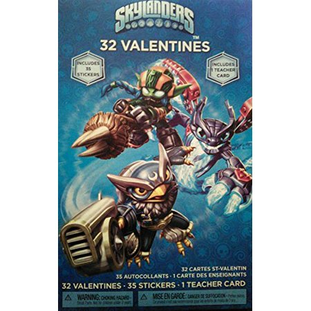 Skylanders 32 Valentines with 35 Stickers and Teacher Card