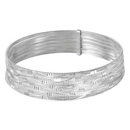 Sterling Silver High Polished Diamond Cut Semanario Bangle Bracelet (Brilliant Diamond Bangle Bracelet)