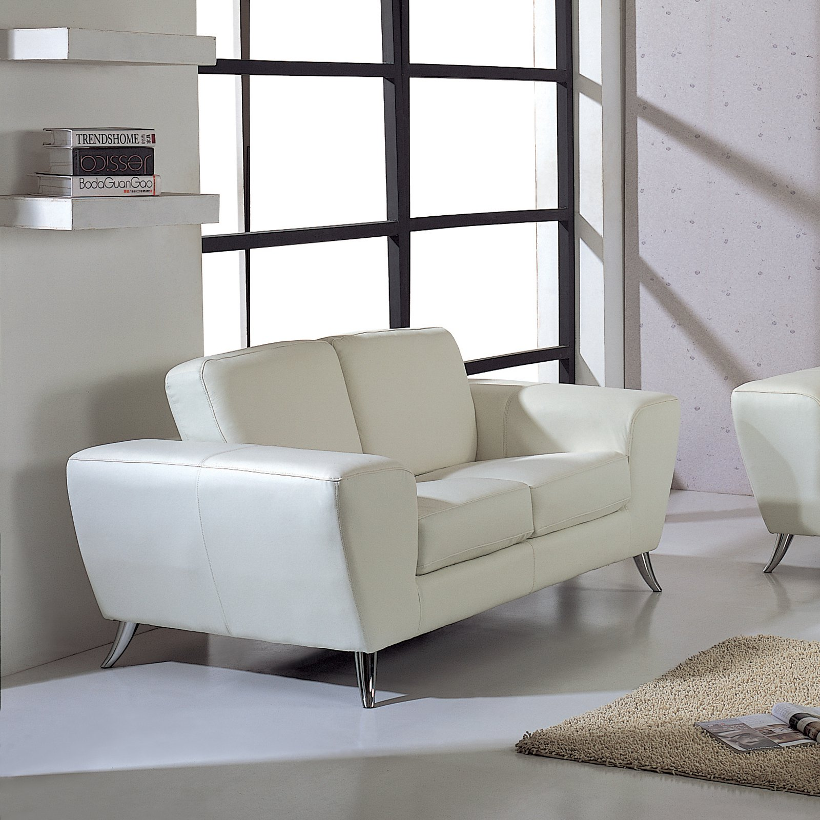 Julie Leather Loveseat - White