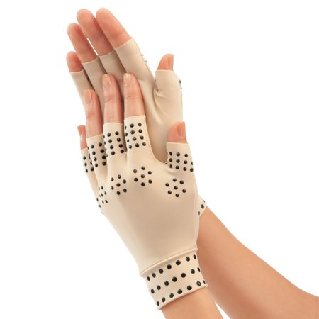 Magnetic Arthritis Therapy Fingerless Compression Gloves, Nude, Large, Beige (Magnetic Arthritis Gloves)