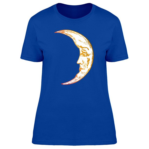 Moon With Tired Face Watercolor Tee Women's -Image by Shutterstock