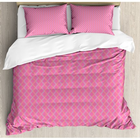 Modern King Size Duvet Cover Set  Circular Shapes With Flower Petal Motifs Repeating Spring Themed Pattern  Decorative 3 Piece Bedding Set With 2 Pillow Shams  Pink Silver Yellow  By Ambesonne