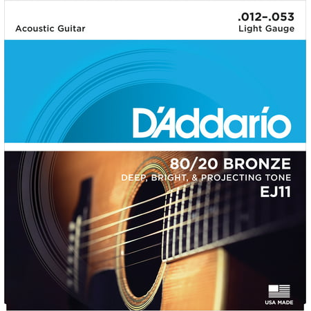 - D'Addario EJ11 80/20 Bronze Acoustic Guitar Strings, Light, 12-53