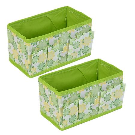 Househlod Desktop Foldable Floral Pattern Storage Box Case Organizer Orange 2pcs ()