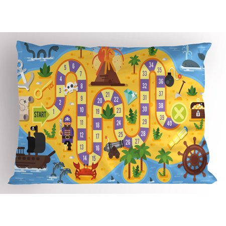 Kid's Activity Pillow Sham Finding Treasure of the Pirate Themed Board Game Style Colorful Island Map, Decorative Standard Size Printed Pillowcase, 26 X 20 Inches, Multicolor, by - Theme Pirate